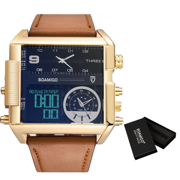 Dropshipping BOAMIGO brand men 3 time zone watch man sport digital watches brown leather military quartz watch relogio masculino