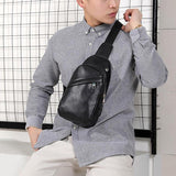 Chest Bag Men Leather Chest Pack USB Backbag With Headphone Hole Functional Travel Organizer Male Sling Bag Black/Brown