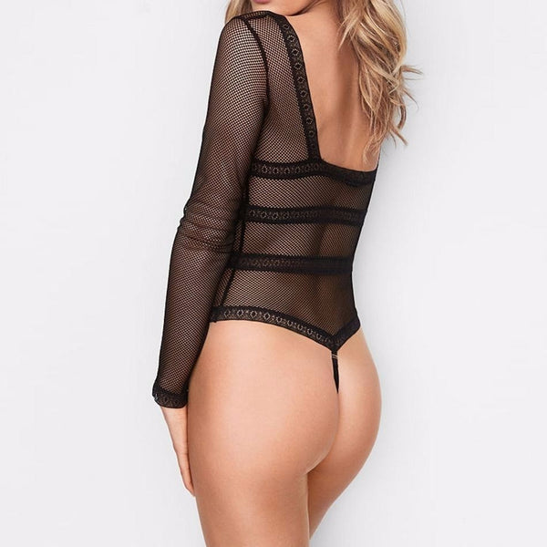 Top Women Plus Size Long Sleeve Stripper Sexy Lace Overall Bodysuit Romper Transparent Body Playsuit Costumes Jumpsuit