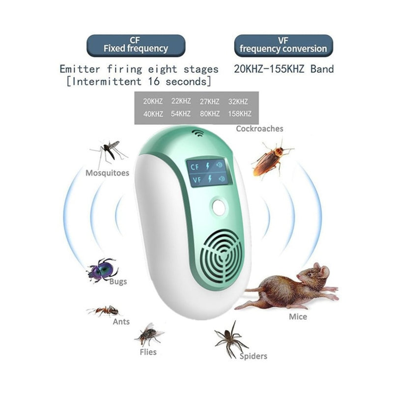 EU/US/UK Electronic Pest Control Ultrasonic Pest Repeller Home Anti Mosquito Repellent Killer Rodent Bug Reject Mole Mice