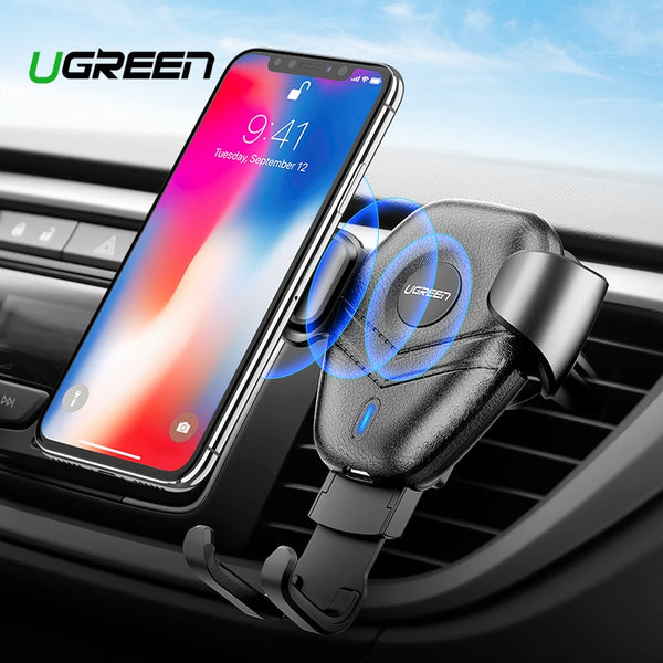 Ugreen Qi Car Wireless Charger for iPhone Xs X 8 10W Fast Wireless Charging for Samsung Galaxy S9 S10 Car Phone Holder Charger