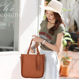 Alandtus Set 4 Pcs PU Leather Women Bags Casual Handbags Vintage Shoulder Bag Large Capacity Wallet Solid Color Card Holder