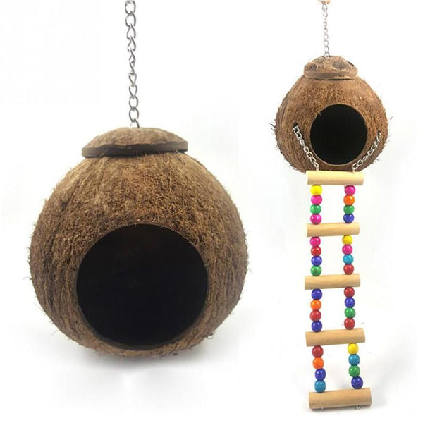 Parrot Bird Toy Natural Coconut Shell Bird Nest Toy for Parrot Bird Hut Cage Feeder Hanging Lanyard Playing Toy Pet Products