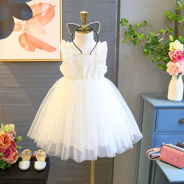 Bear Leader Girls Dress 2019 Summer Children Floral Dresses Girl Clothes Lace Solid Party Dress Openwork Kid Princess Dress 3-7Y