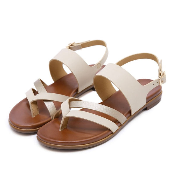 HEE GRAND Women Gladiator Sandals Summer Shoes Round Toe Back Strap Sandals 2019 Buckle Shoes Female Lady Casual Flats XWZ5882