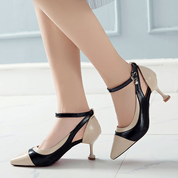 Summer Pumps Women High Thin Heels 2019 Shallow Buckle Ankle Strap Sandals Mixed Colors Pointed Toe Sexy Shoes WXG647