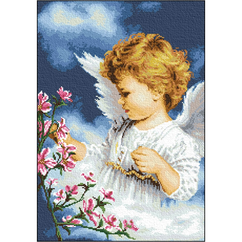 oil painting styles little angel flowers counted cross stitch kits 14ct Needle Arts & Craft set baby gift newest high quality