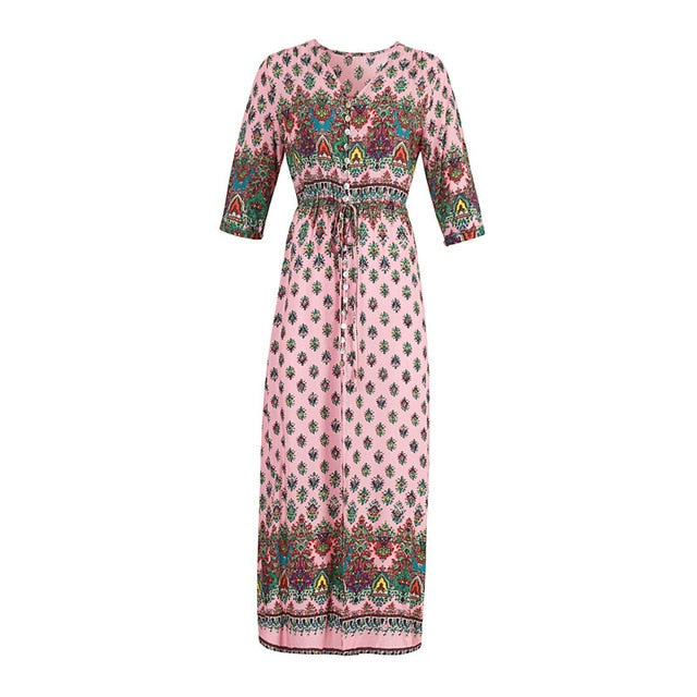Andador Bohemian Beach Maxi Dress Print Floral Summer Women Casual Sexy Dresses Half Sleeve Ethnic Lace Up Party Sundress