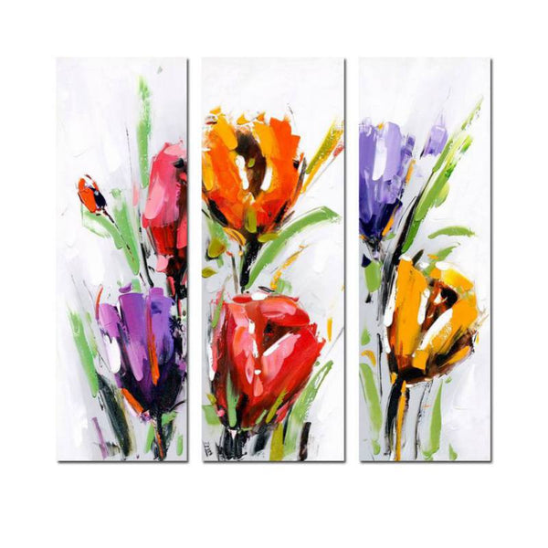 Flower Printed Triptych Flower Oil Painting Wooden-frame Canvas Decorative Painting Home Bedroom Hotel Shop Artwork Decoration