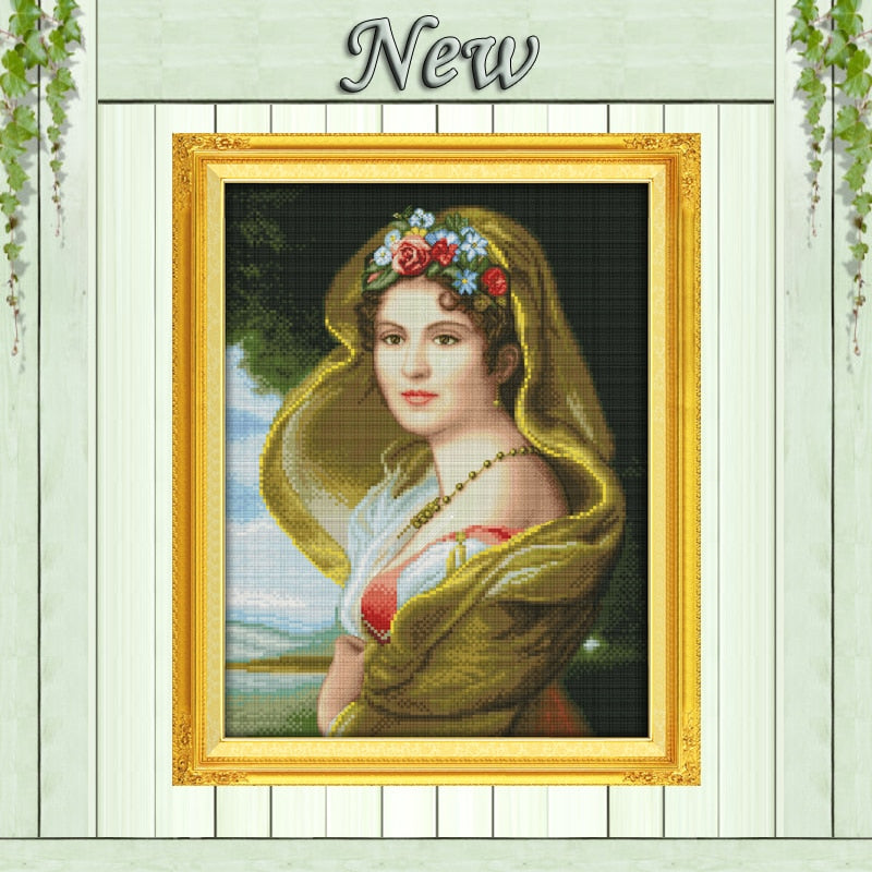 Oil painting girl,Counted printed on canvas DMC 14CT 11CT Cross Stitch Needlework kit,Embroider Set,pretty woman home wall Decor