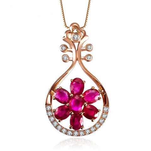 Design Rose Gold Filled Lute Pendants For Women Rose Crystal  Plum Blossom Hollow Zircon Charm Necklace Lover Gifts