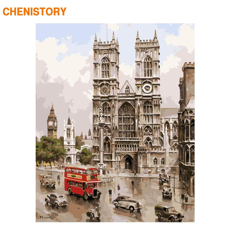 CHENISTORY Frame Notre Dame De Paris Diy Painting By Numbers Kits Landscape Wall Art Picture Canvas Painting Home Decors 60x75cm