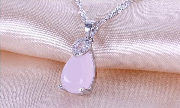 Buy one get one free!! 925 sterling silver wholesale pink opal gem stone ladies`pendant necklace jewelry no fade short chain drop shipping