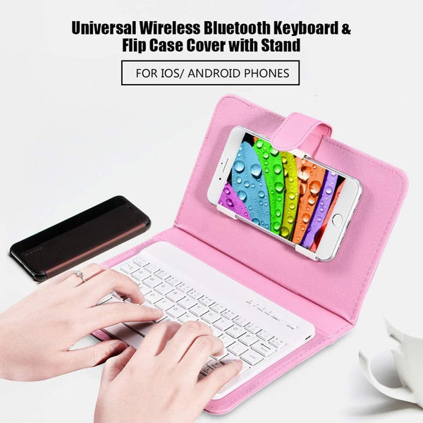 Portable PU Leather Wireless Keyboard Case for iPhone Android Protective Mobile Phone with Bluetooth Keyboard Smartphone