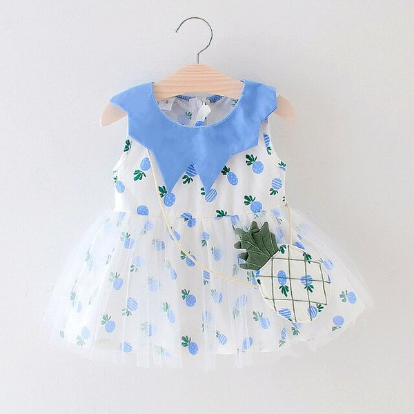 AiLe Rabbit  children's wear the new summer 2019 girls dress baby sleeveless pineapple printing dress