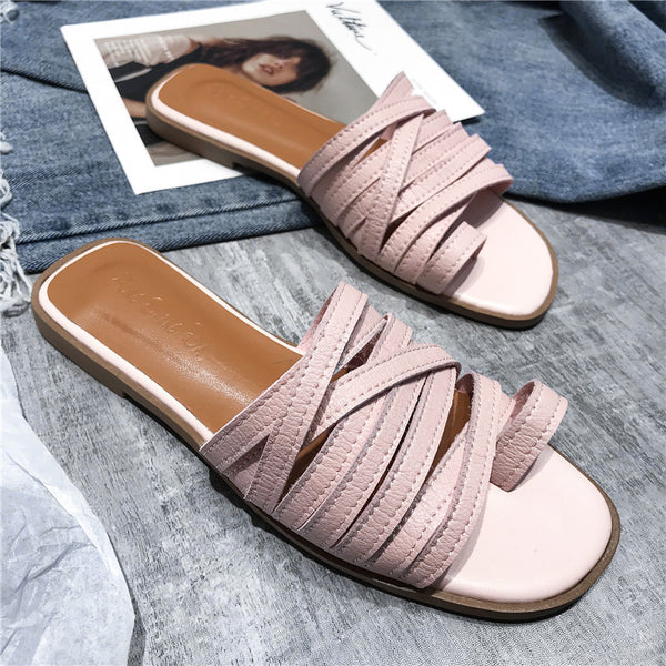HEEGRAND Fashion Women Summer Slippers Flat Heel Candy Colors Beach Shoes Female Roman flip flops Casual Holiday Sandal XWT1809