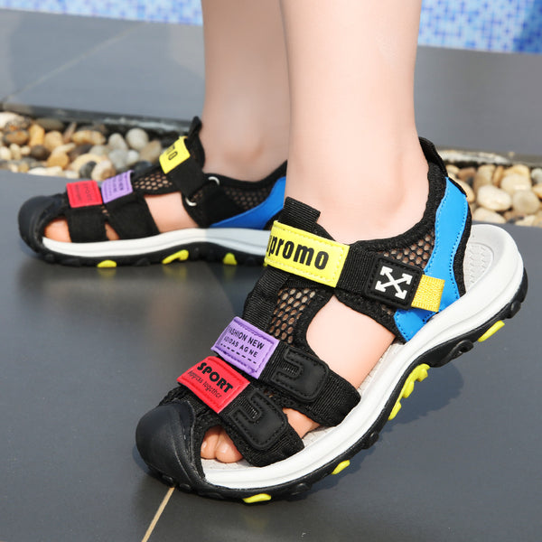 ULKNN Boys Sandals 2019 New kids Summer Children's Leather Big Boy Beach Shoes Non-slip Soft Bottom Boys Shoes
