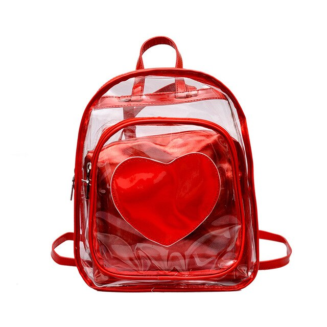 2019 New Style Laser Transparent Jelly Female Backpack Ribbon Travel Motion Shopping Personality Heart Shape