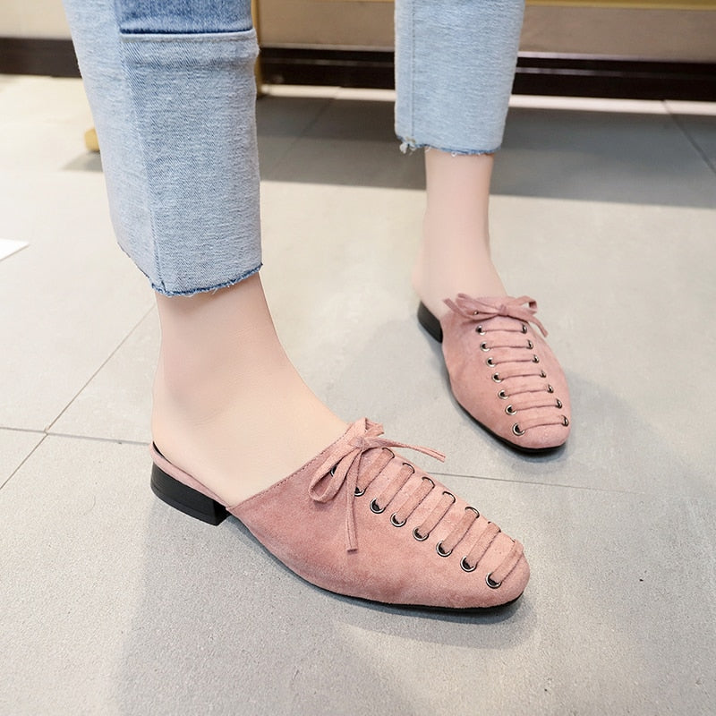 HEE GRAND 2019 Summer Mules Women Outside Low Heels Butterfly-knot Slingbacks Slip On Solid Slippers Lady Pumps Shoes XWT1589