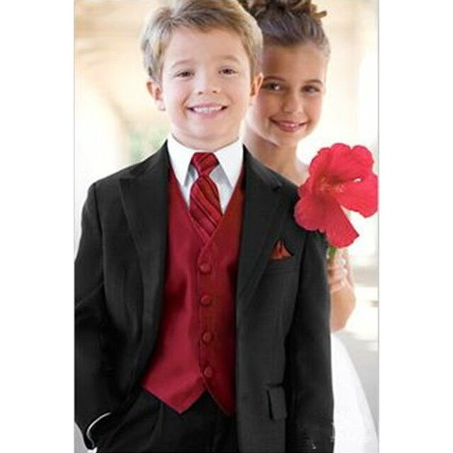 Classic Boys Suits for Wedding Black Boys Formal Suit Costumes for a Boy Kids Children's Blazer Clothes 2019 (Jacket+Pants+Vest)
