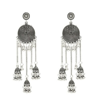 India Oxidized Jhumka Jhumki Indian Earrings Jewelry For Women Gold Silver Long Tassel Statement Ears Afghan Egypt Turkish gypsy