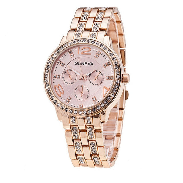 Geneva Diamond Rhinestone Women's Watches reloj mujer Quartz Wrist Watch Stainless Steel Band Analog luxury Ladies Clock New B30