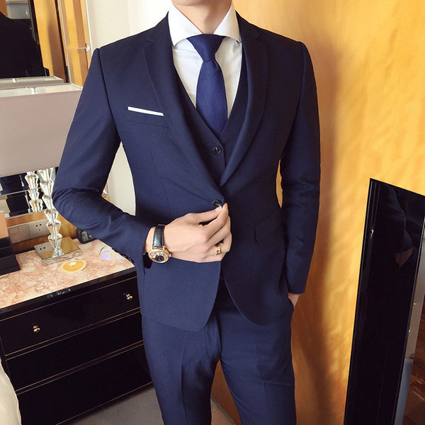 3PCS Drop shipping Slim suits men's business casual groomsman wedding clothes pants trousers High quality men's fashion sets suit