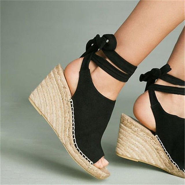 Oeak 2019 Lace Up High Heel Platform Sandals Feminina Espadrilles Women Open Toe Sandals Women Casual Woman Summer Shoes Women