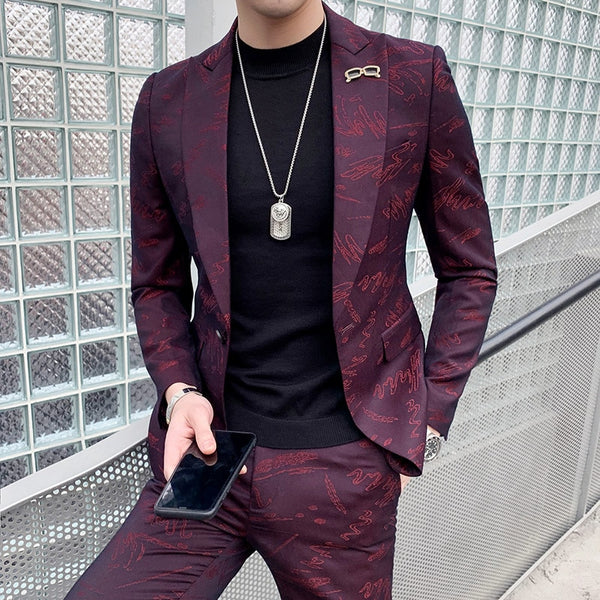 custom Fashion nightclub suit male Korean version handsome casual suit men's suit hairdresser's wedding dress