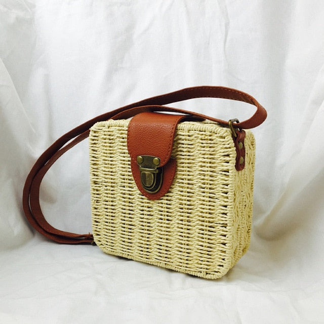 Square Round Mulit Style Straw Bag Handbags Women Summer Rattan Bag Handmade Woven Beach Circle Bohemia Handbag New Fashion