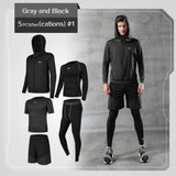 (HOT SALE) 5 Pcs/Set Men's Tracksuit Gym Fitness Compression Sports Suit Clothes Running Jogging Sport Wear Exercise Workout Tights