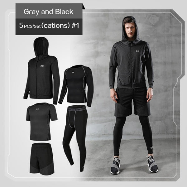 (New) 5 Pcs/Set Men's Tracksuit Gym Fitness Compression Sports Suit Clothes Running Jogging Sport Wear Exercise Workout Tights