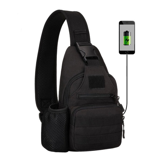 Outdoor Military Tactical Shoulder Bag with USB charging chest bag Wear-Resistant Travel Camping Backpack Cycling