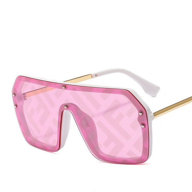 Hip-hop Sunglasses Exaggerated Large Frame Conjoined Sunglasses Frameless  Women Letters Lenses Fashion Sunglasses