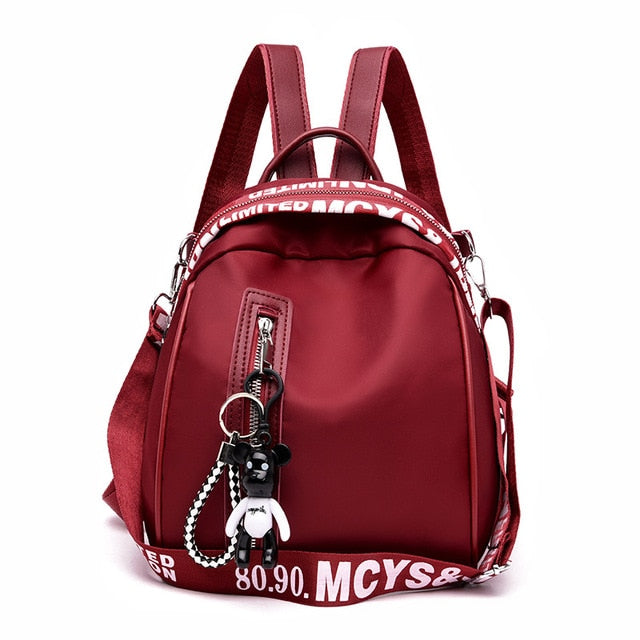 Women's fashion backpack solid color Oxford cloth college wind school bag travel trend shoulder bag