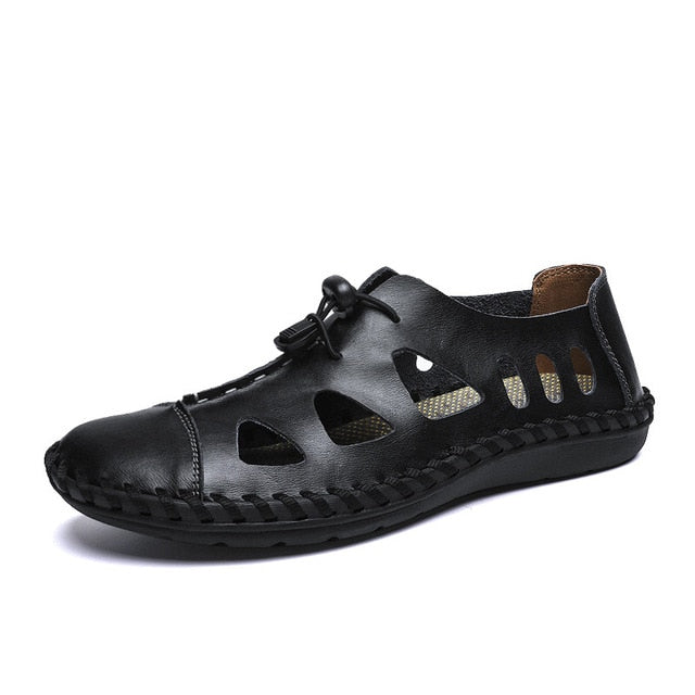 ZUNYU New Summer Sandals Men Breathable High Quality Genuine Leather Sandals Man Flats Fashion Casual Beach Men's Shoes Size 48