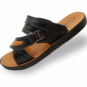 Hot 2019 Men's Sandals Summer British Fashion Man Genuine Leather Beach Shoes Men Massage Non-Slip Large Slippers Flats