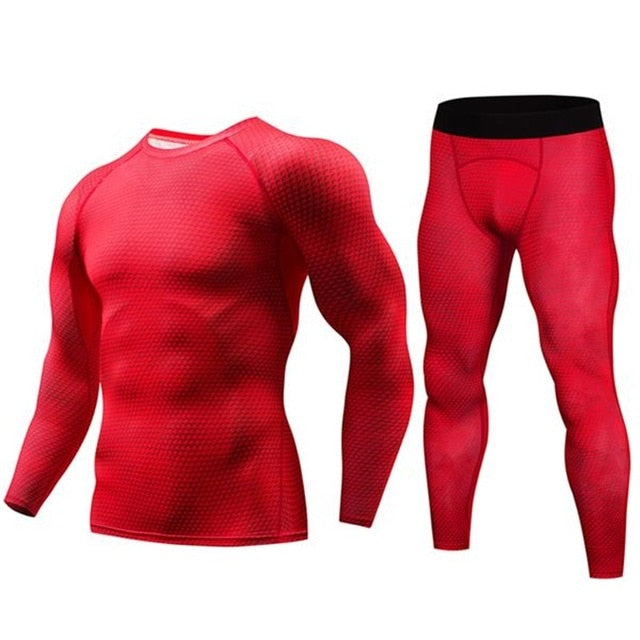 Men Bodybuilding Compression 2PCS/Set Tracksuit Fitness Tight Men Long T shirt Leggings Gyms sets Joggers Quick Dry Clothes+pant
