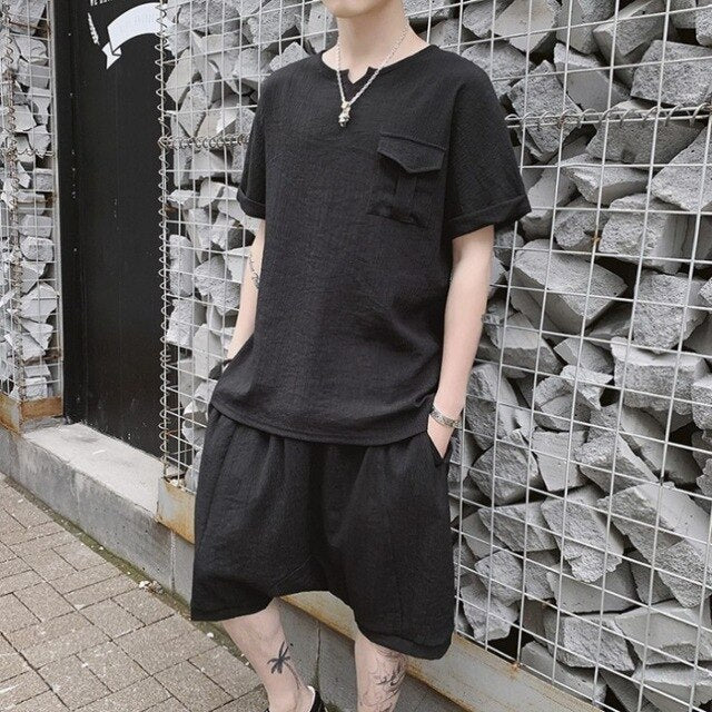 Chinese Style Summer Mens Loose Fit Casual Two Piece Outfits Short Sleeve Pullover Pockets T-Shirts Elastic Waist Cross Shorts
