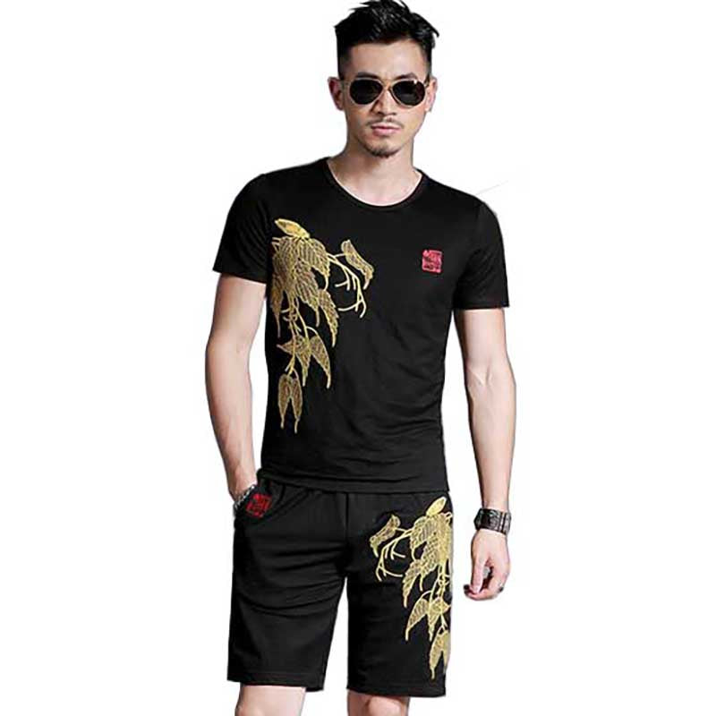 New Fashion Summer 2 PCS Set Short Tshirt Set Mens Short Sets Tracksuit High Quality Embroidery Men's Clothing Set Sweatsuits