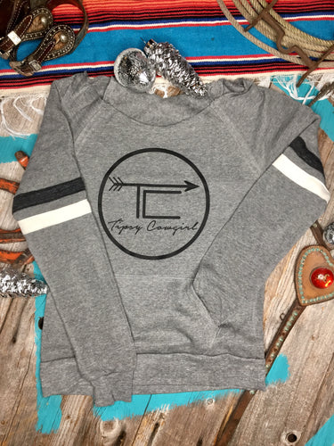 TC BRAND raw neck crew sweatshirt