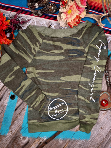 TC BRAND raw neck sweatshirt- CAMO