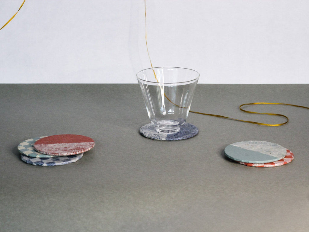 Glass cup & tea coasters set