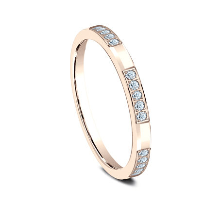 2mm Five Pave Diamond Stackable Ring