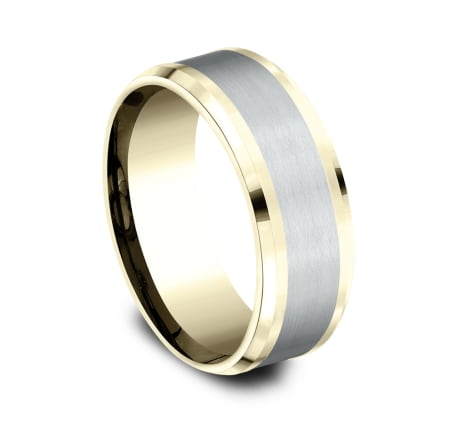 8mm Yellow Gold Two-Tone Sculpted Men's Wedding Ring
