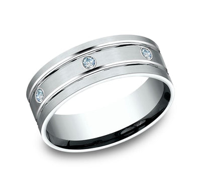 8mm White Gold Burnished-Set Men's Diamond Wedding Band