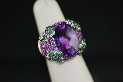 14K Gold Tsavorite, Pink Sapphire, and Amethyst Ring