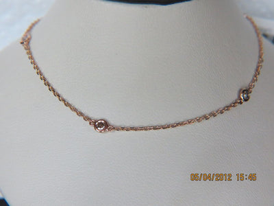 14K Rose Gold Diamond by the Yard Necklace