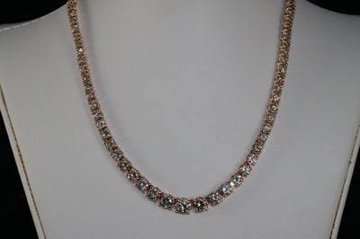 14K Rose Gold Light Brown Diamond Riviera Necklace