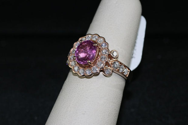 18K Rose Gold Pink Sapphire Center Stone Ring